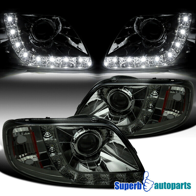 97 03 ford f150 expedition smoke projector headlights w. Black Bedroom Furniture Sets. Home Design Ideas