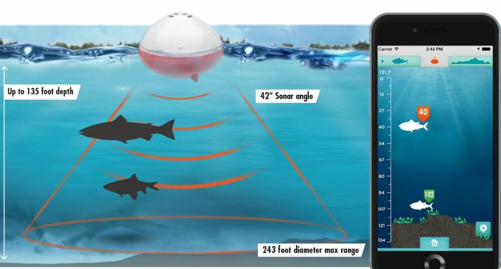Portable depth fish finder for smartphones wireless bobber for Phone fish finder