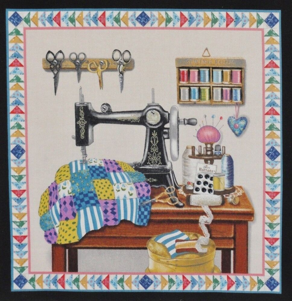 quilter sewing theme fabric machine thread needle pins. Black Bedroom Furniture Sets. Home Design Ideas