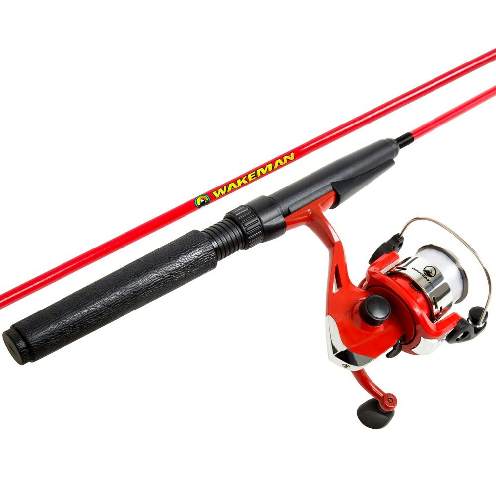 Wakeman spawn series red kids spinning 2 pc rod and reel for Kids fishing poles walmart