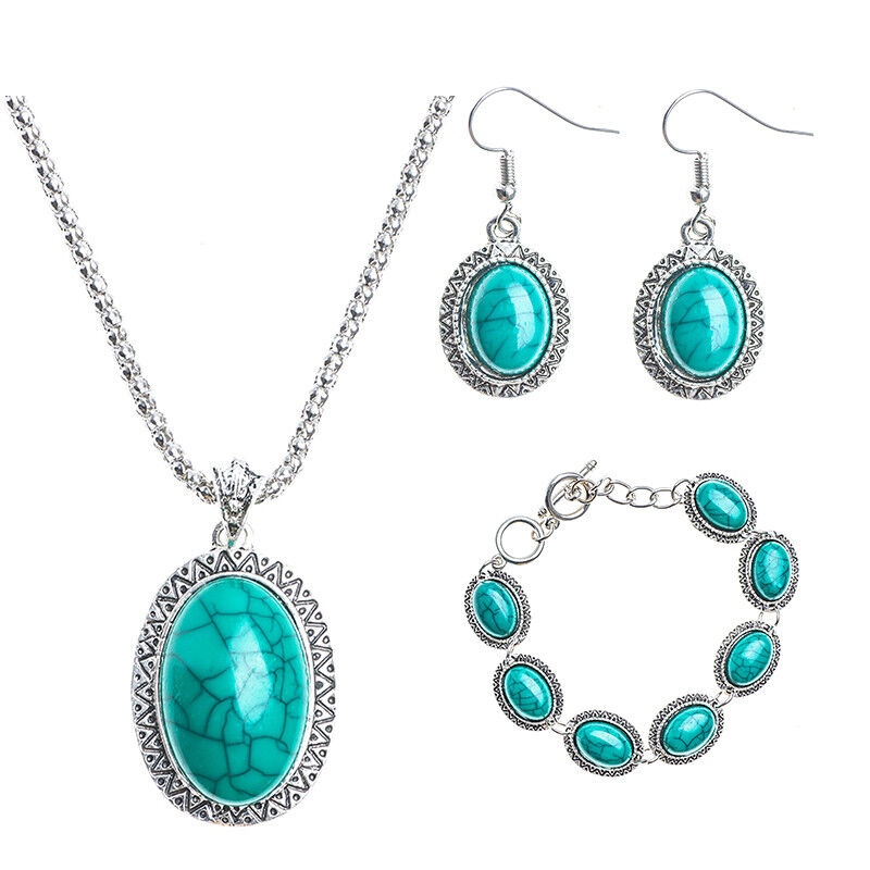 bracelet and earrings sets retro jewelry set turquoise thai silver bracelet earrings 4266