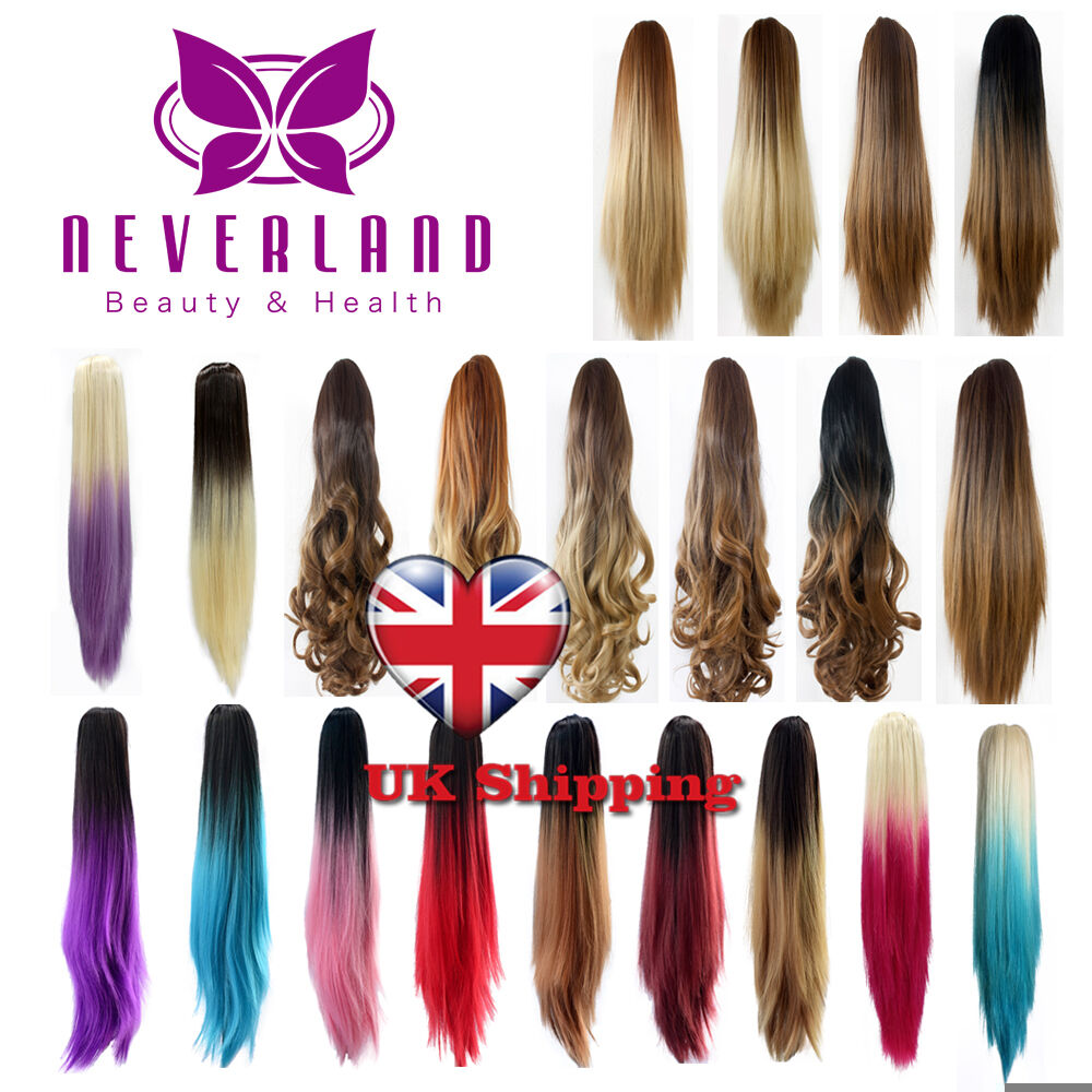 Two Tone Straight Clip In Dip Dye Ombre Ponytail Hair