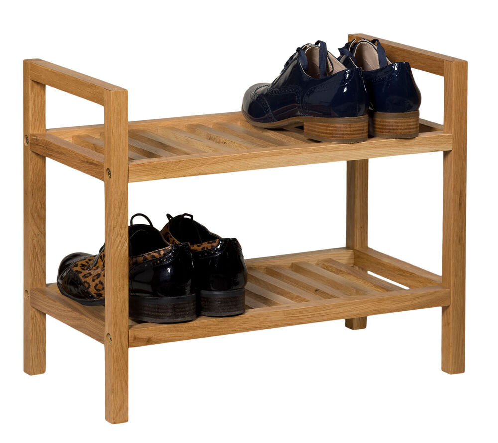 Stackable oak shoe storage rack narrow wooden hallway organiser stand 2 shel ebay - Shoe racks for small spaces collection ...