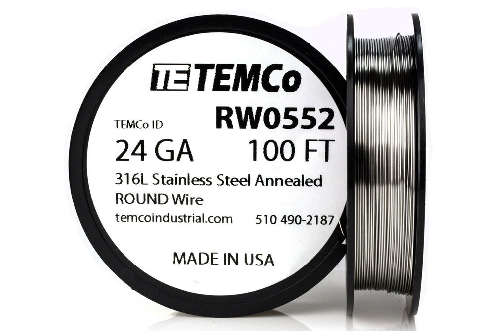 TEMCo Stainless Steel Wire SS 316L - 24 Gauge 100 FT Non-Resistance ...