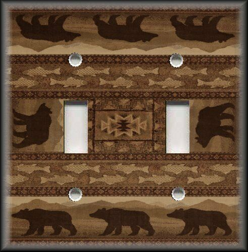 Light switch plate cover rustic cabin decor bear fish for Rustic bear home decor