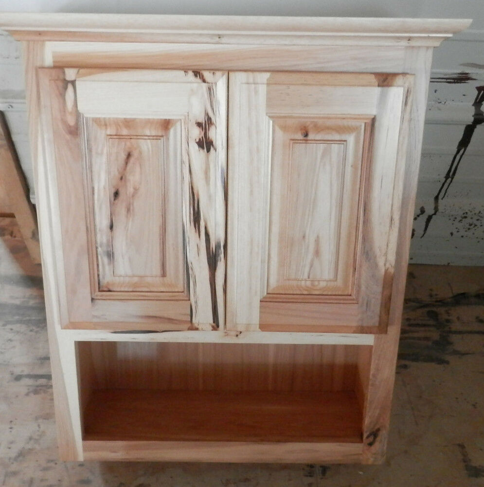 Amish made custom bathroom wall cabinet rustic hickory ebay - Custom made cabinet ...