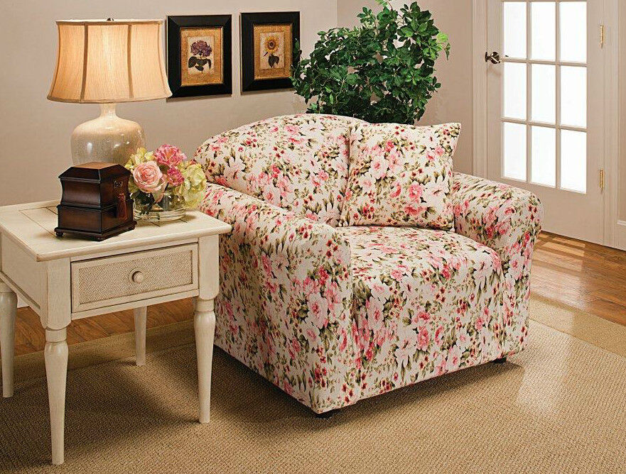 Jersey Recliner Cover Pink Or Blue Floral Quot Stretches