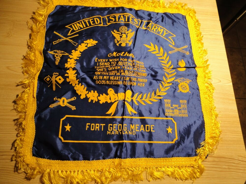 Vintage Wwii Us Army Satin Pillow Case Quot Sweetheart Quot Fort