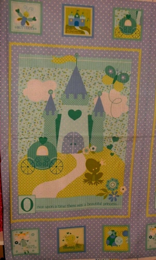 Childrens quilt fabric wallhangng panel princess frog once for Children s fabric panels