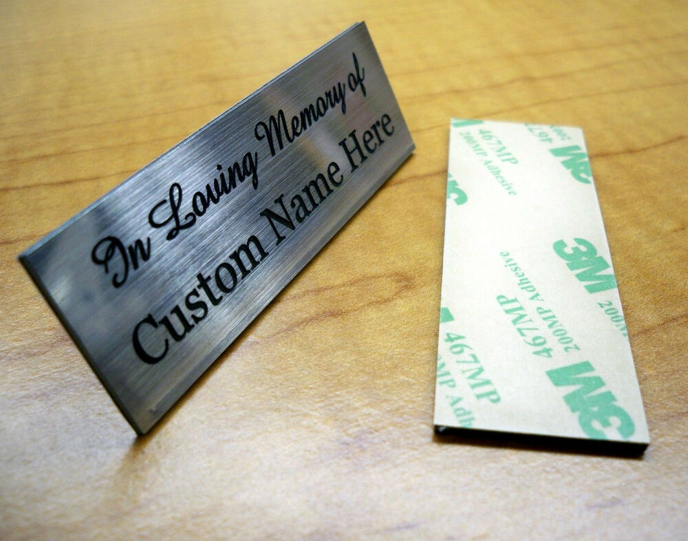 Name Plate: Custom Engraved 2x6 Silver In Memory Of Name Plate