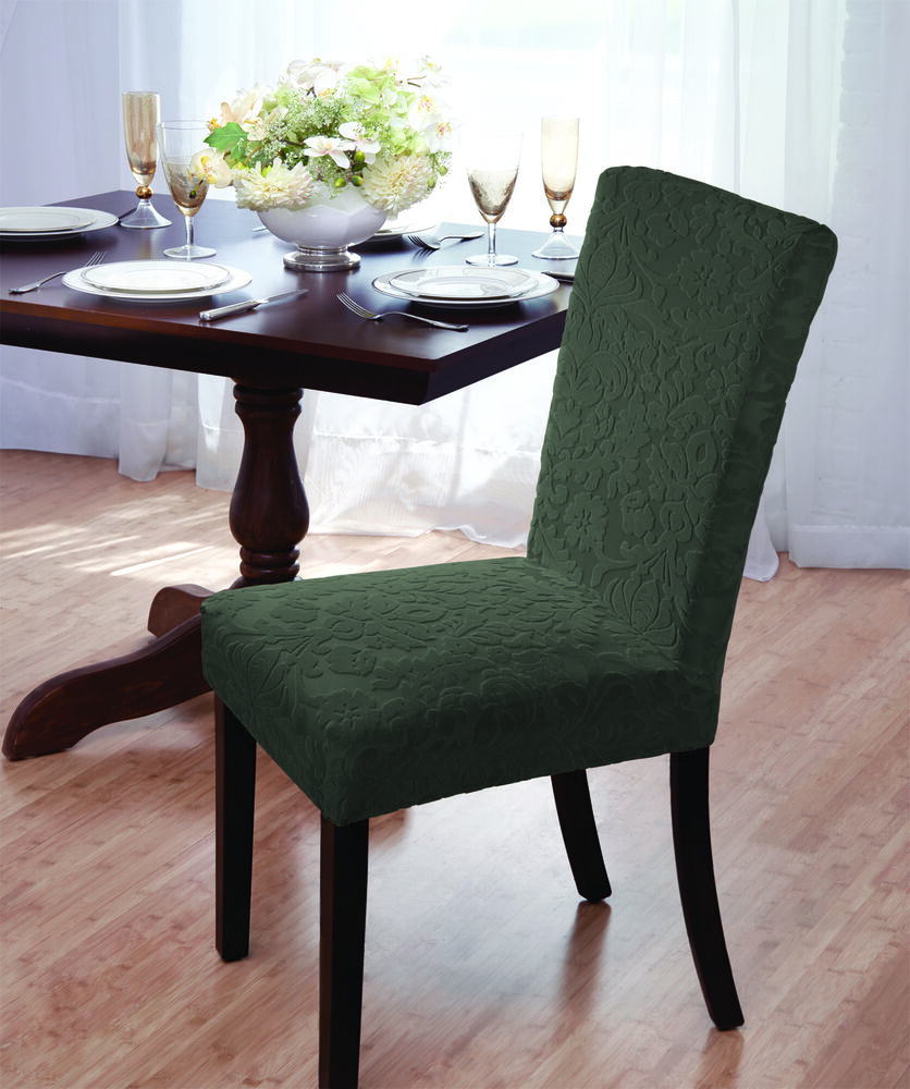 "Clearance Dining Room Chairs: VELVET ""STRETCH"" DAMASK DINING CHAIR COVER--FOREST--COMES"