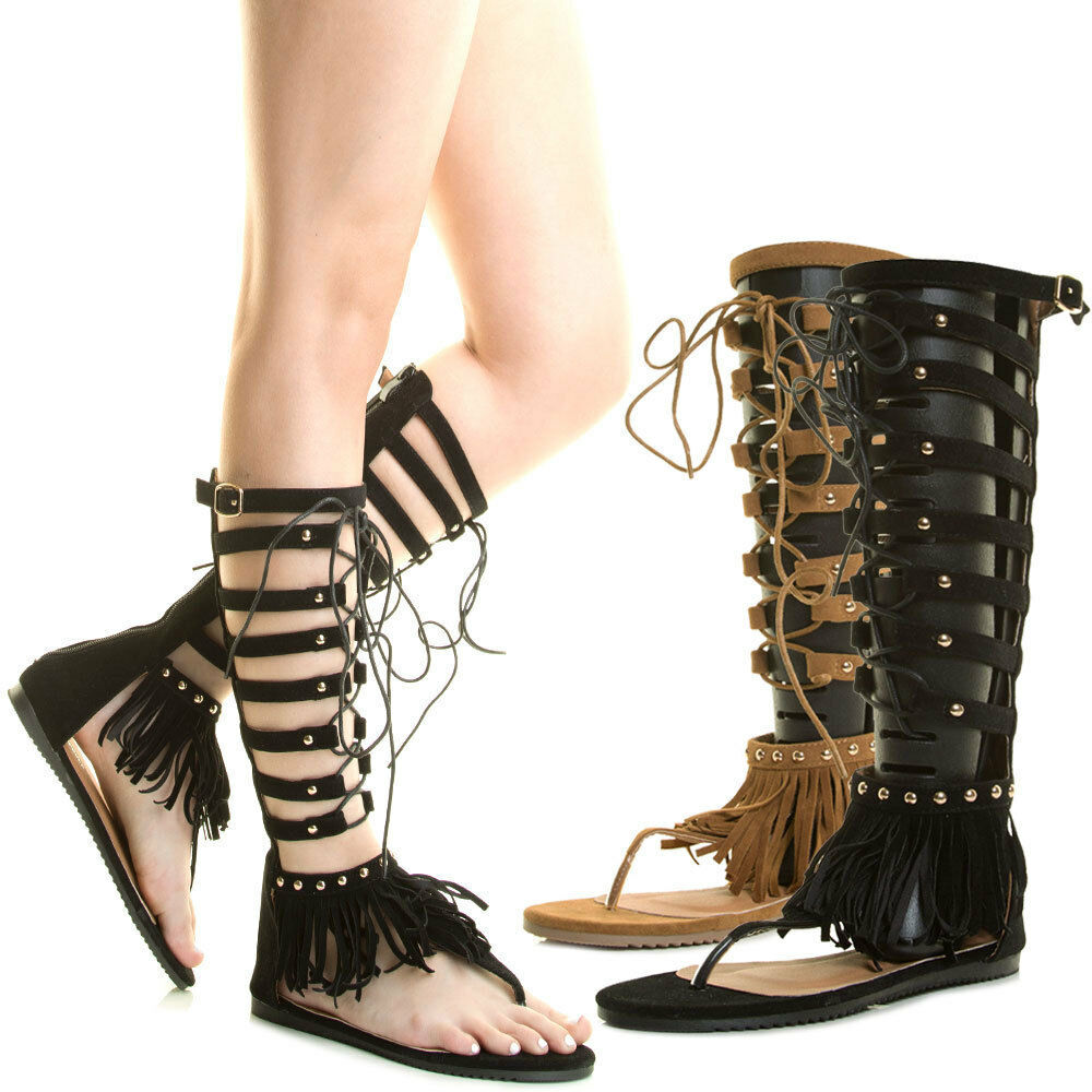 58b70648b527e Details about Women Mid Calf Knee High Gladiator Rome Flat Sandal Fringe  Cage Lace Up Open Toe