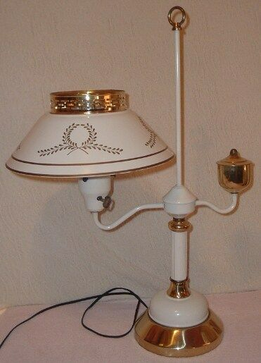 Vintage French Provincial Student Desk Lamp Metal Shade