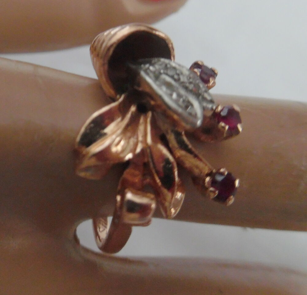 art deco 14kt rose gold ring w diamonds rubies size 7. Black Bedroom Furniture Sets. Home Design Ideas