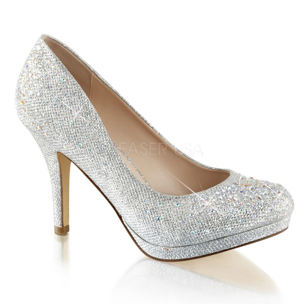Silver  Inch Heel Wedding Shoes