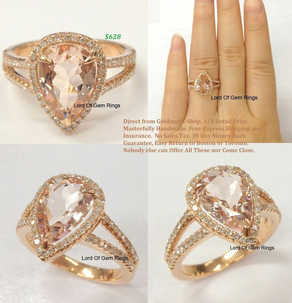 8x12mm Pear Cut Pink Morganite Diamonds Engagement Ring