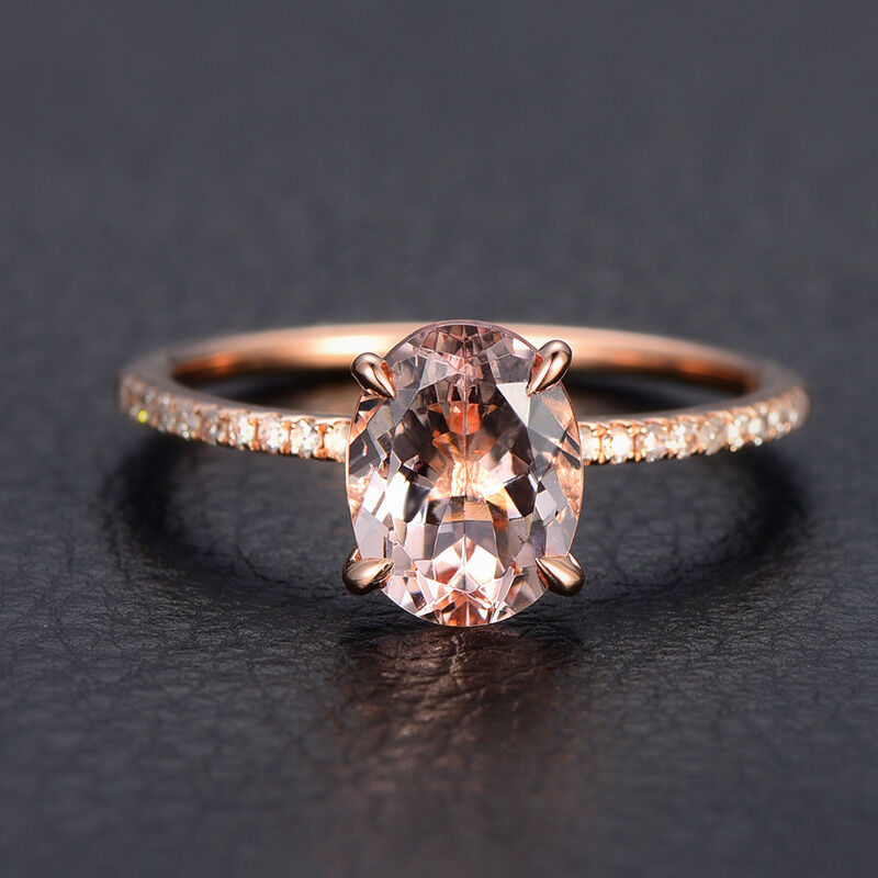 Morganite Diamond Engagement Ring 14K Rose Gold Oval Cut 6x8mm Wedding Band