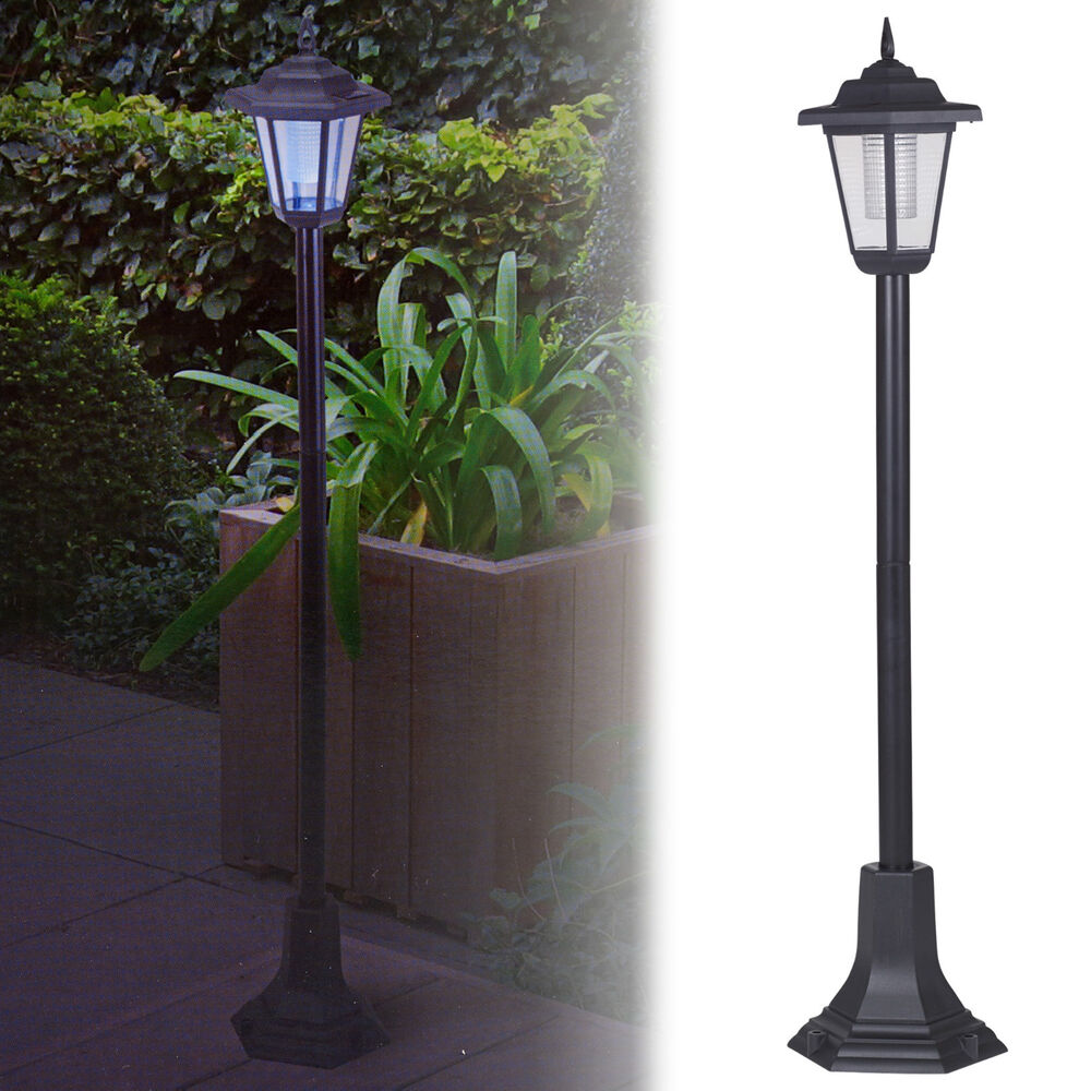 Outdoor Post Lights Led: Solar Powered Garden Lights Lantern Lamp Black LED Pathway