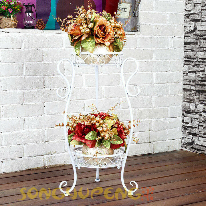 2 Tier Plant Stand Flower Holder Metal Home Garden Floor