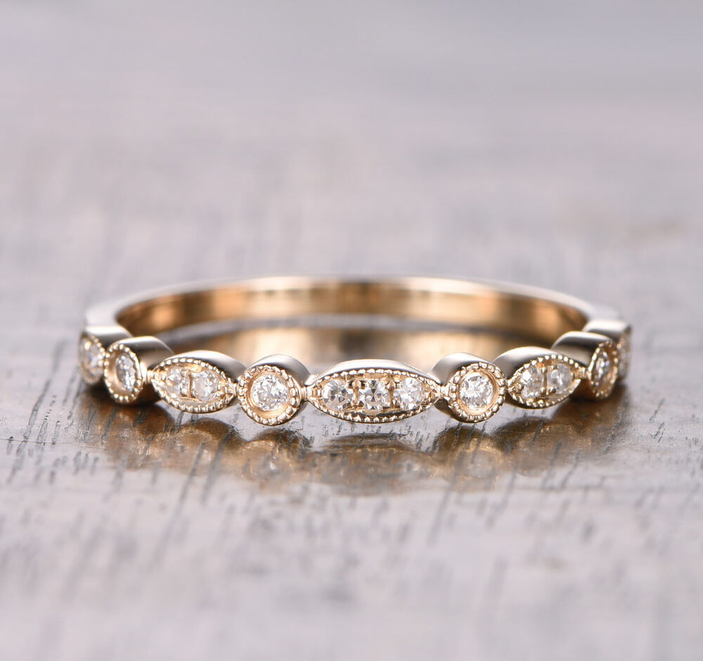 Half Eternity Art Deco Antique Sih Diamonds Wedding Band. Breastplate Necklace. Moissanite Bands. Solid Silver Necklace. Alternative Engagement Rings