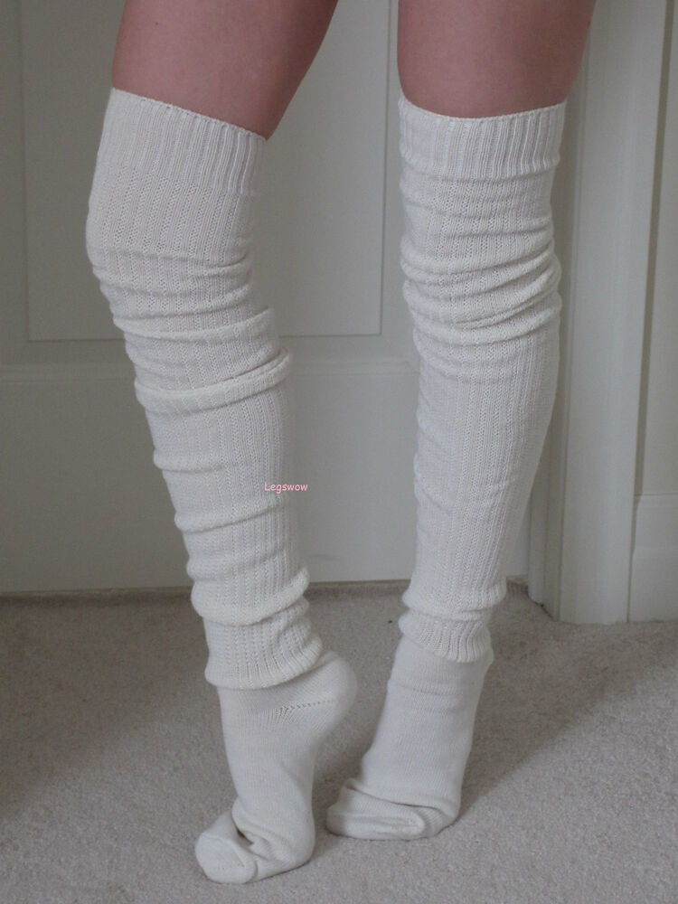 Long Over The Knee Slouch Socks Otk Thigh High Beige Black