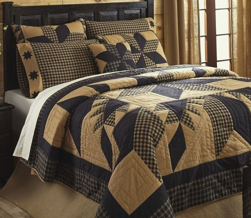 Rustic Country Black Star 3pc Full Queen Quilt Set