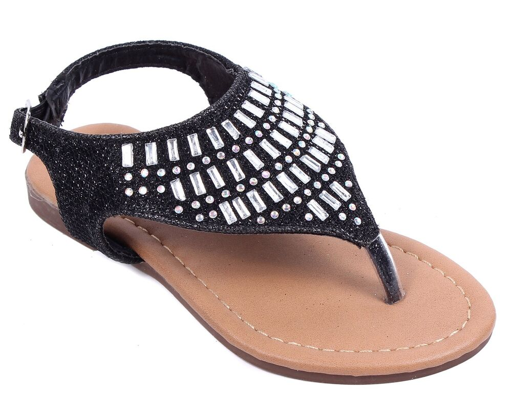 Black Cute Kids Sandals Rhinestone Girls Flats Youth ...