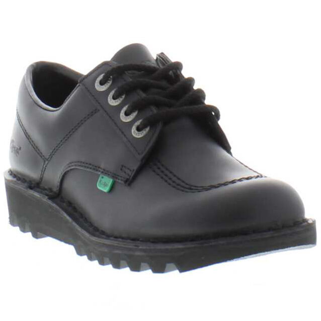 Mens Kickers Black Leather Slip On Shoes