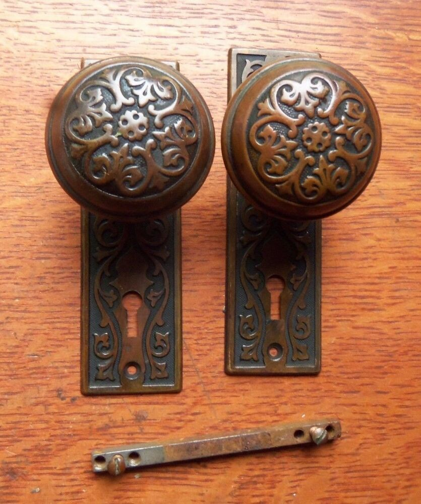 Antique Fancy Brass Victorian Doorknobs Door Knobs