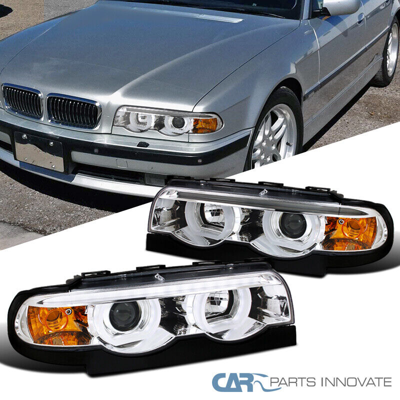95 01 bmw e38 7 series 740i 740il 750il chrome led iced halo projector headlight ebay. Black Bedroom Furniture Sets. Home Design Ideas