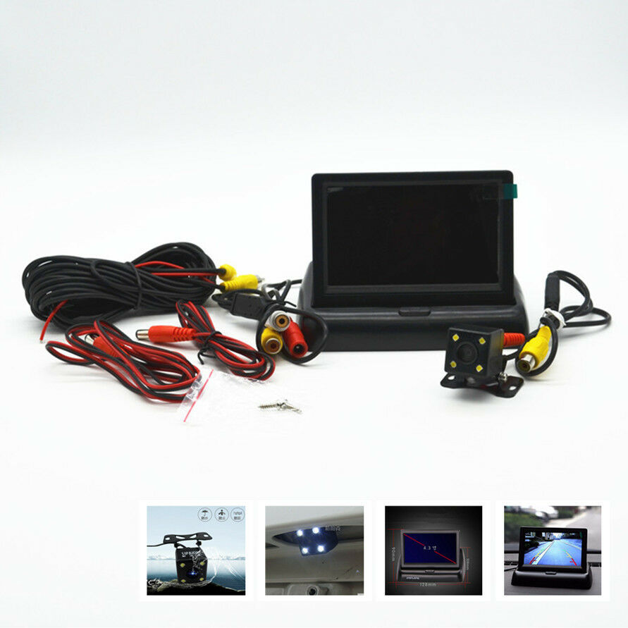 4 led hd ccd cars off road rear view camera 4 3 lcd foldable monitor display ebay. Black Bedroom Furniture Sets. Home Design Ideas
