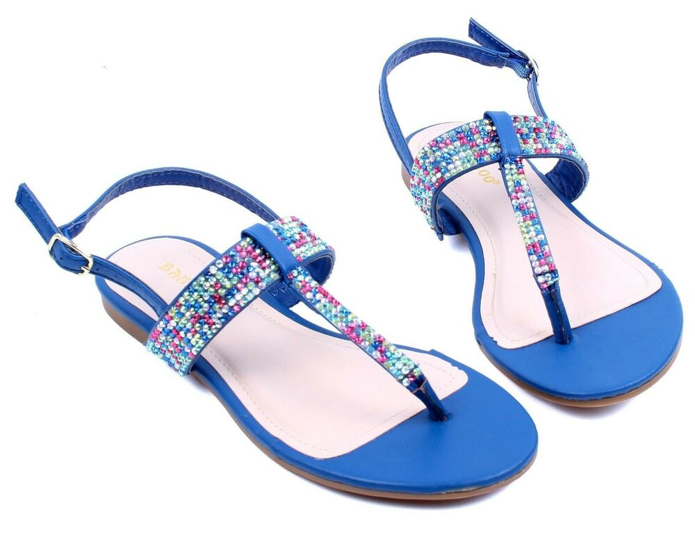 blue bamboo colorful gladiator flats summer womens sandals
