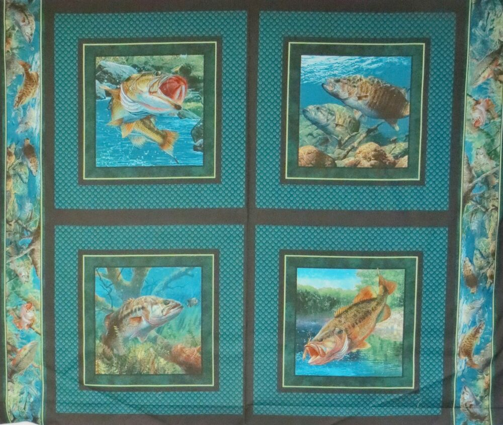 4 block panel of fish walleye bass pillow quilt fabric for Fish fabric for quilting