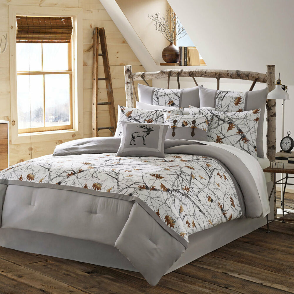 Queen 4pc White Camo Bedding Set Grey Nature Print Rustic Country Snow Trees New Ebay