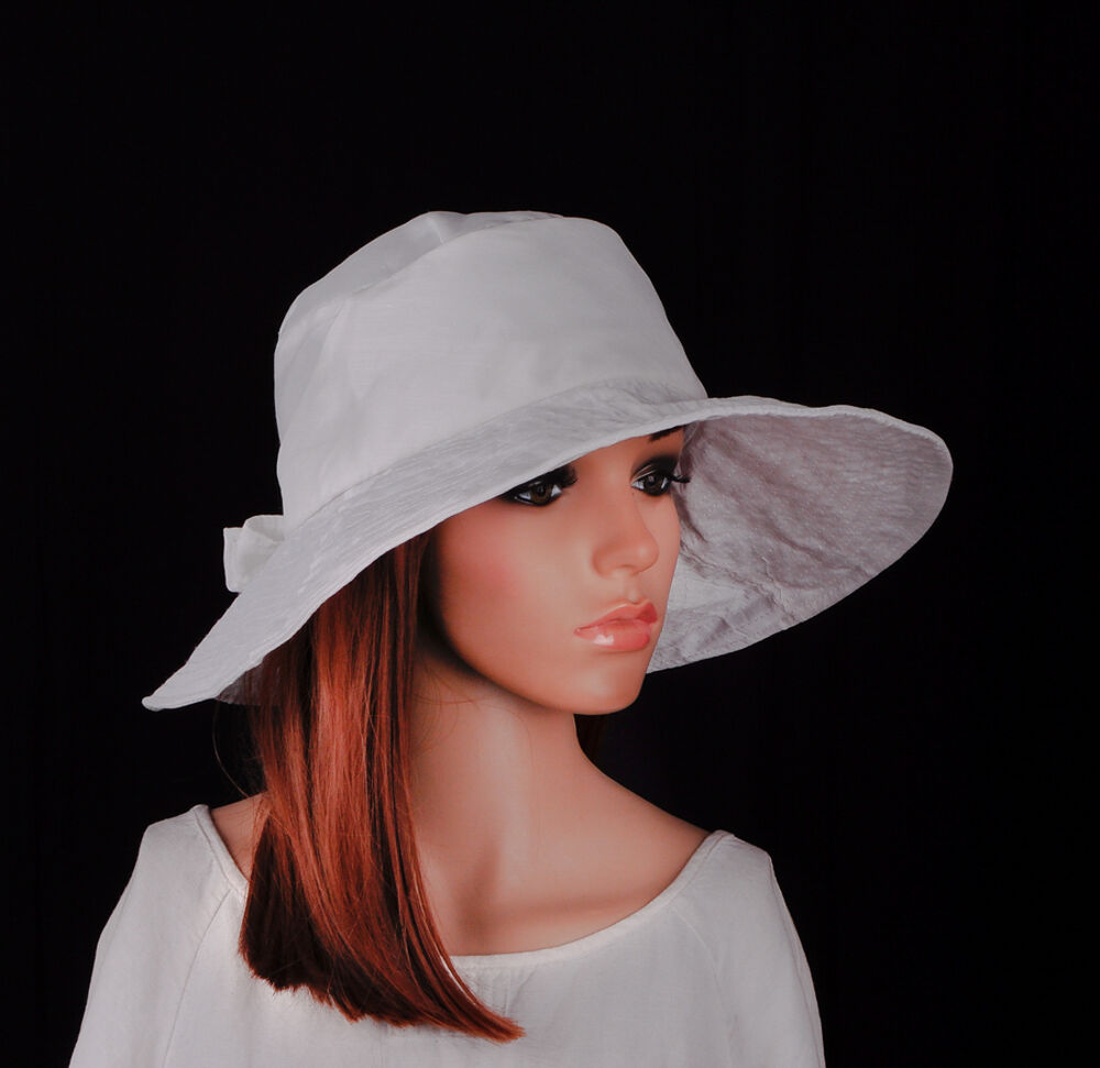 m379 white cotton cute bow sun hat cap bucket wide brim