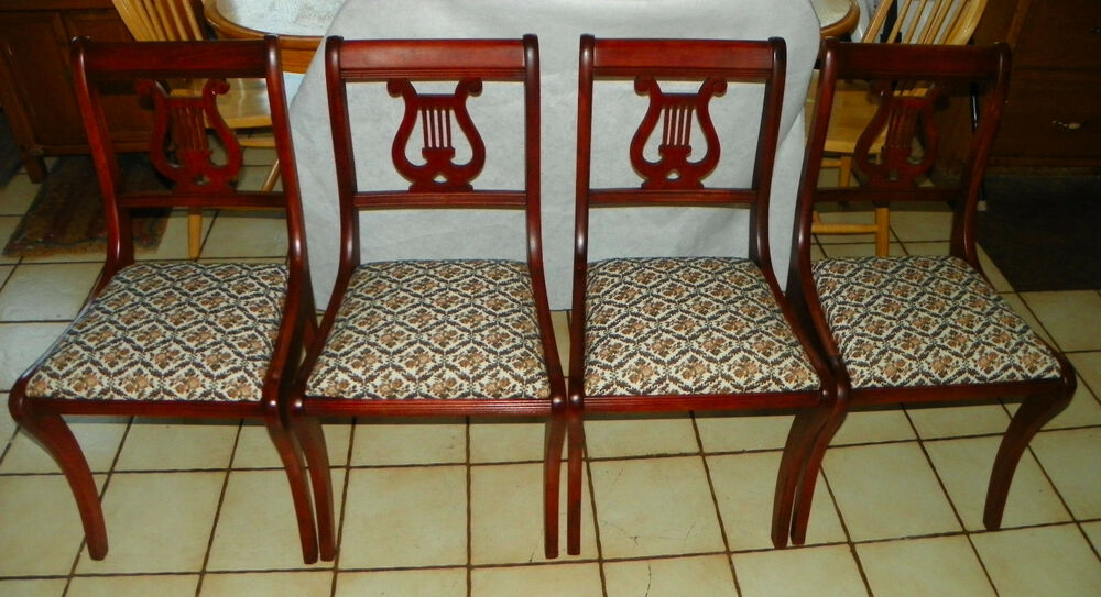 Set of 4 Mahogany Harp Back Dinette Chairs Sidechairs by  : s l1000 from www.ebay.com size 1000 x 543 jpeg 120kB