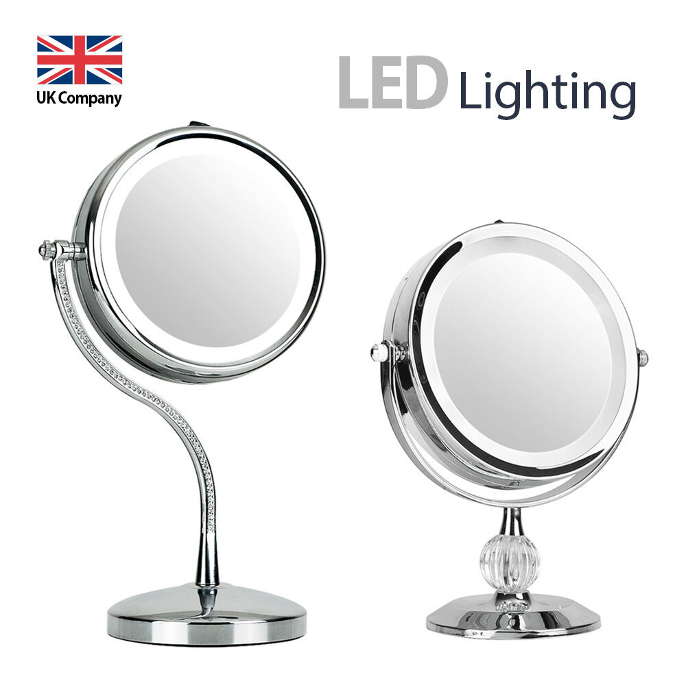 round free standing magnifying led light make up vanity dressing table mirror ebay. Black Bedroom Furniture Sets. Home Design Ideas