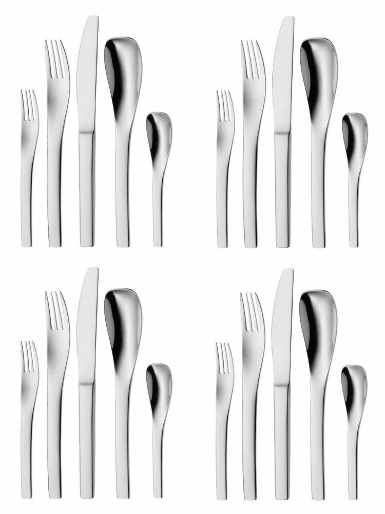 wmf vela 20 piece cromargan 18 10 stainless flatware set service for four ebay. Black Bedroom Furniture Sets. Home Design Ideas