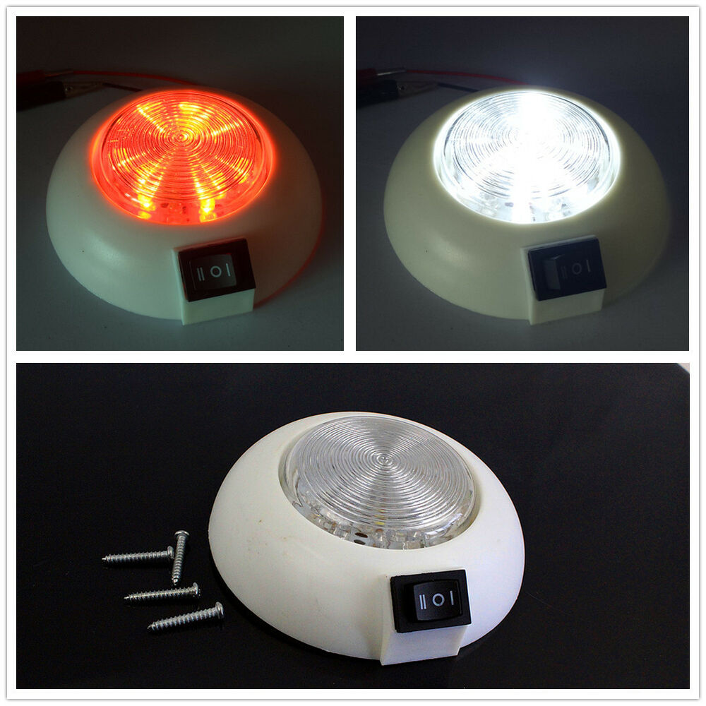 Led 12v Dual White Red Rv Caravan Trailer Boat Interior Ceiling Dome Light Us Ebay