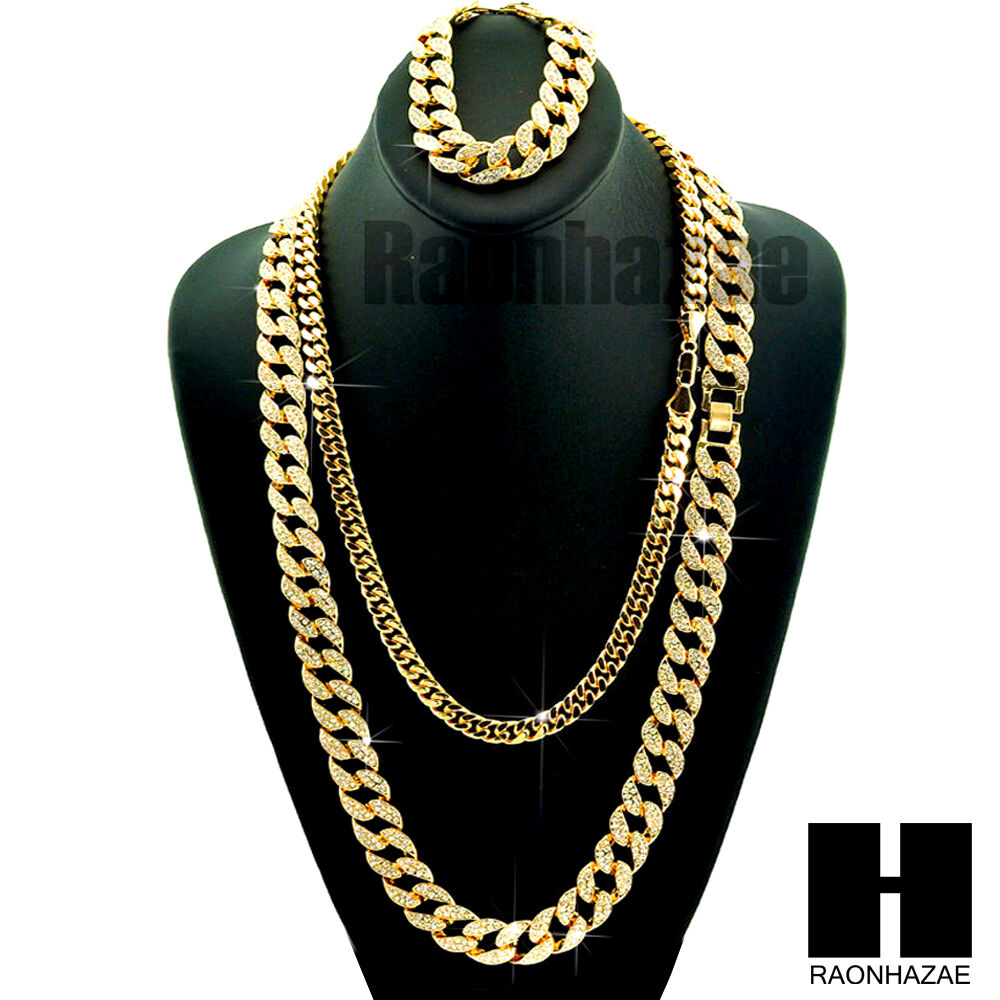 gold iced out lab diamond necklace 15mm 30 24 miami. Black Bedroom Furniture Sets. Home Design Ideas