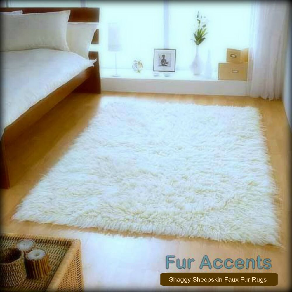 Clearance Sale White Shag Faux Fur Area Rug Rectangle