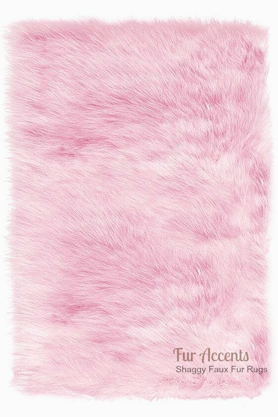 Shag Area Rug Pink Faux Fur Rectangle Ultra Suede