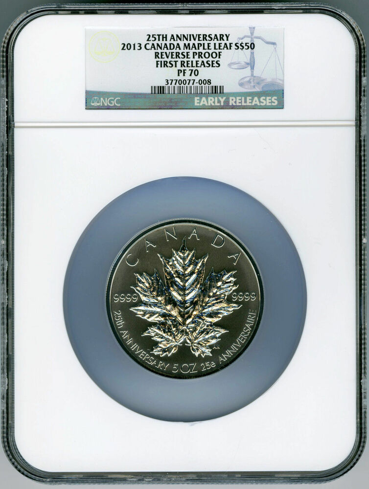 2013 Canada 5 Ounce Silver Maple Leaf Ngc Pf70 Reverse