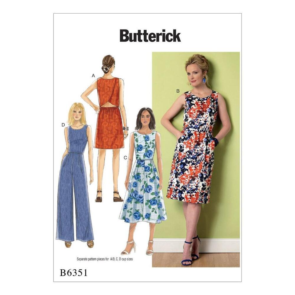 BUTTERICK SEWING PATTERN MISSES' DRESS & JUMPSUIT SIZE 6 ...