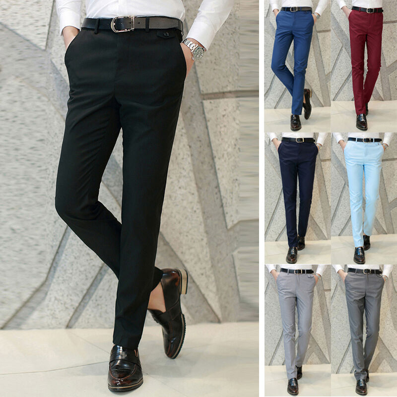 New Fashion Menu0026#39;s Soft Formal Business Pants Slim Fit Straight Suits Trousers | EBay