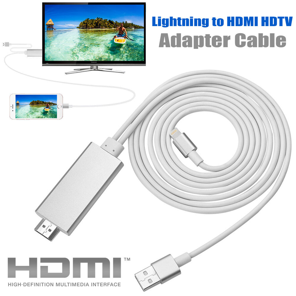 2m Lightning To Hdmi Hdtv Av Cable Adapter For Apple