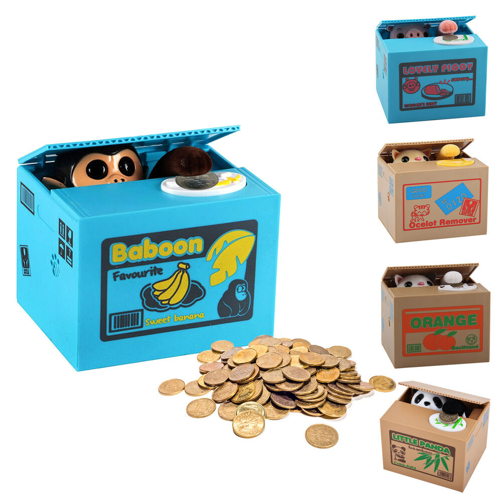 panda stealing coin money cat penny cents piggy bank. Black Bedroom Furniture Sets. Home Design Ideas