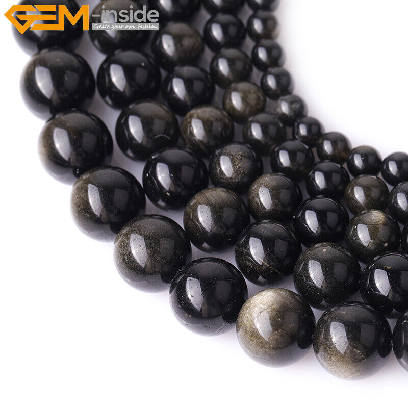 Natural stone genuine gold obsidian gemstone beads for for Birthstone beads for jewelry making