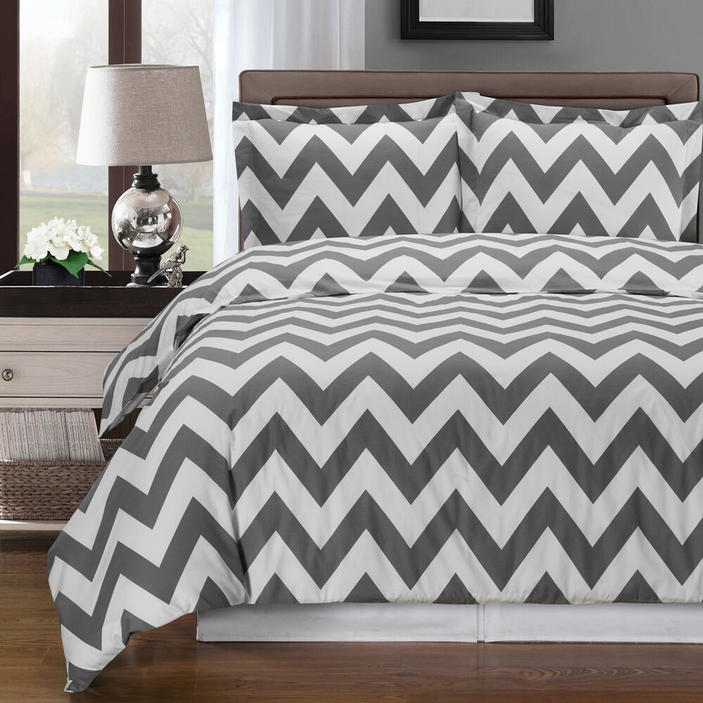 Gray And White Chevron 3 Piece Full Queen Duvet Cover