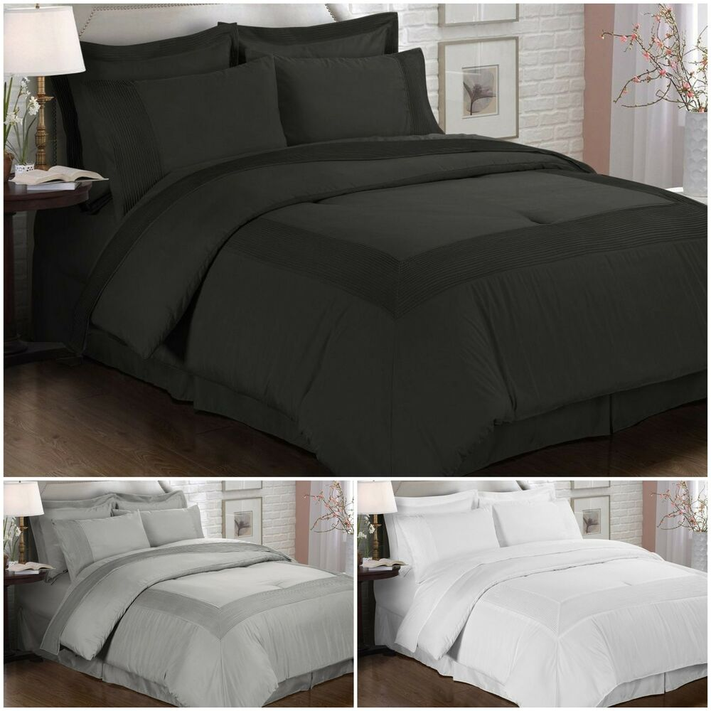 Chezmoi collection 8 piece solid pleated hem sheets for Luxury hotel 660 collection bed skirt